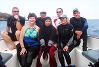 Dive team: Michael Cortenbach, Jos Pet, Mark Erdmann, Brett Hobson Lower Jackie Guccione, Aidah Hussain, Tierney Thys